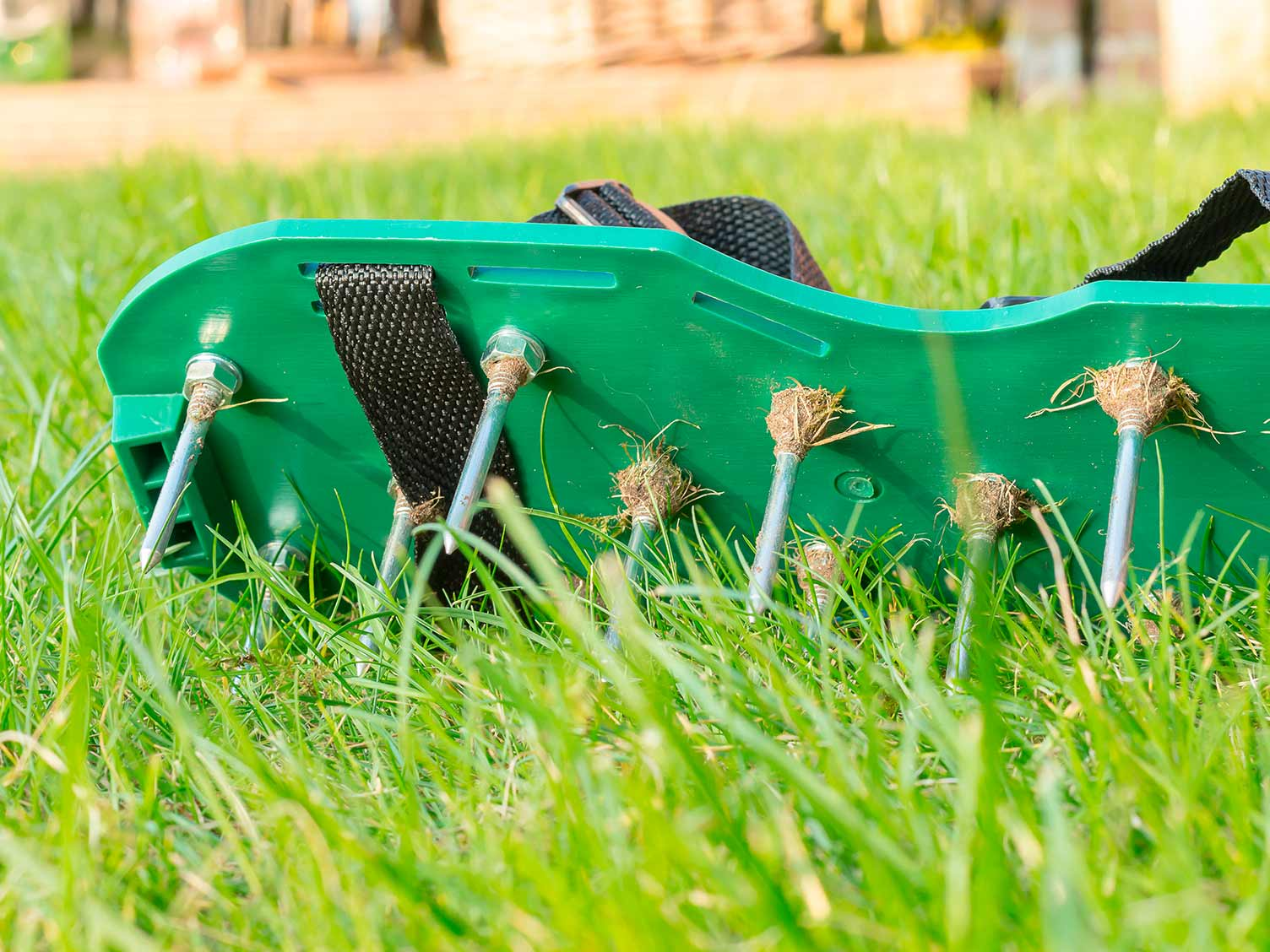 Lawn aerating shoes with spikes