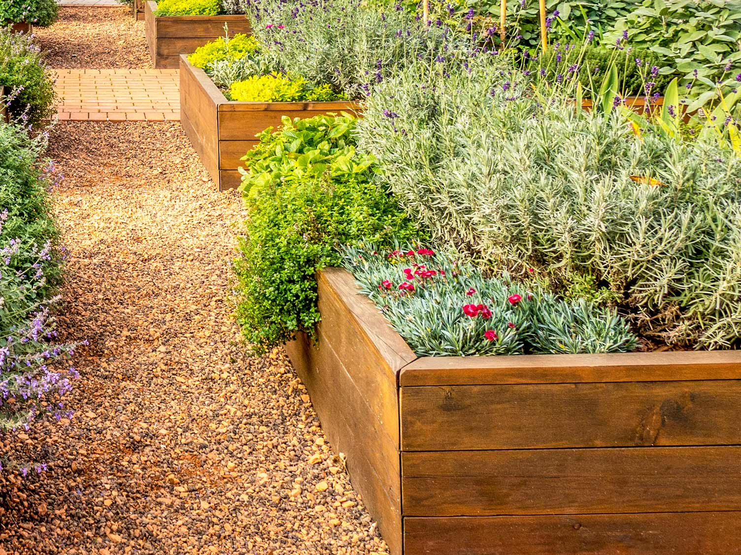 Raised flowerbeds help prevent waterlogging